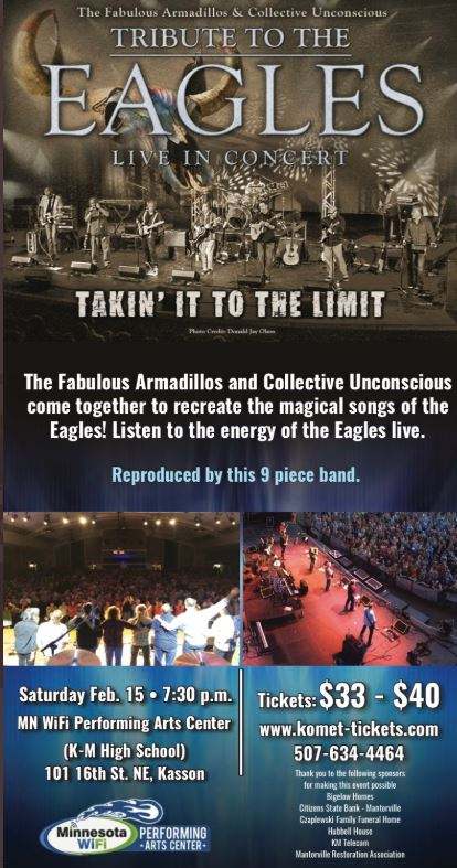 The Fabulous Armadillos & Collective Unconscious Tribute to the Eagles Live in Concert, Saturday, February 15 at 7:30 PM