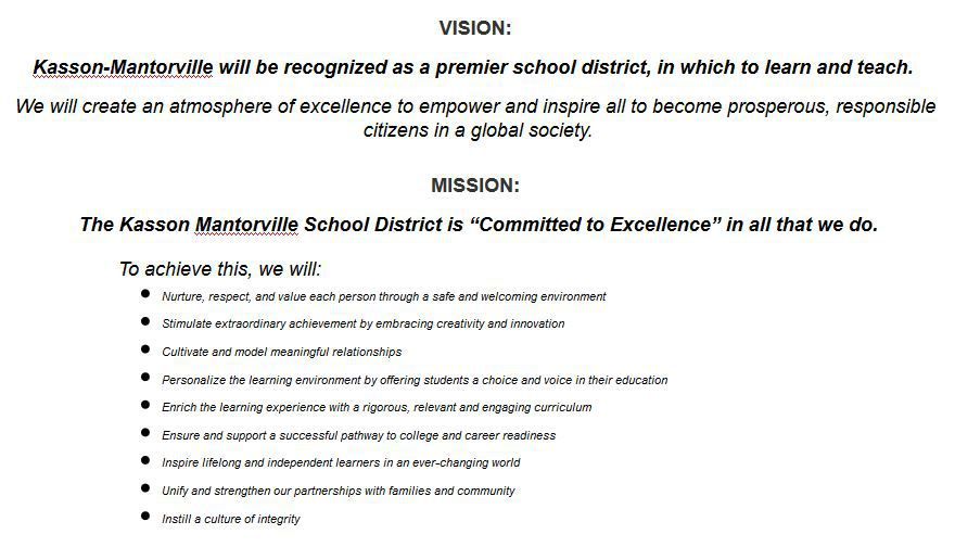 Static image of Kasson-Mantorville Vision and Mission Statements