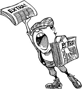 "clipart image of a newsboy hawking the newspaper, shouting ""Extra! Extra!"""