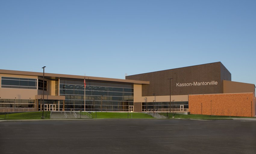 Photograph of East entrance to Kasson-Mantorville High School building